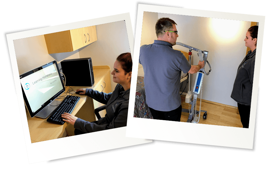 Training at Avanti Homecare, using e-learning and practical equipment training